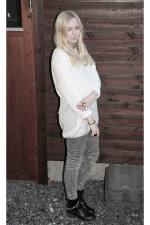 silver H&M Exclusive jeans - white GINA TRICOT sweater - black H&M shoes
