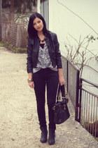 black leather Terranova jacket - periwinkle H&M blouse