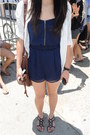 White-bdg-shirt-brown-bag-black-sandals-navy-romper