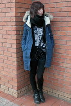navy F&F coat - black Primark boots