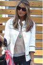 White-f21-jacket-beige-lux-shirt-blue-almost-famous-jeans-black-prada-purs