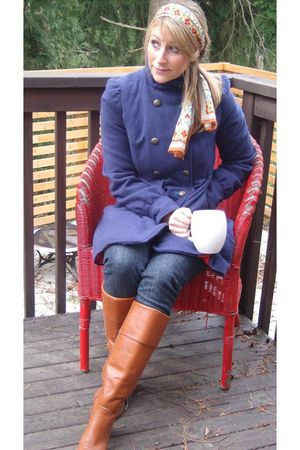 brown Frye boots - blue Target coat - red relic purse - Oscar de la Renta scarf