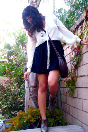 white Pinkey blouse - black American Apparel skirt - green Danexx boots