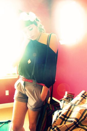 black alloy shirt - H&M shorts - red  belt - white Forever 21 accessories