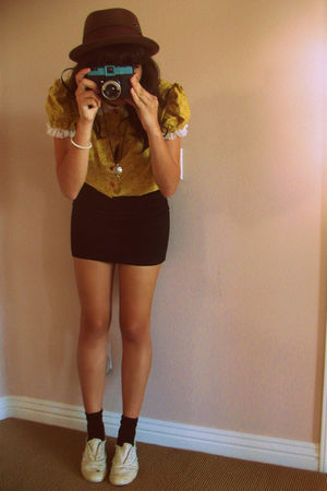 gold self-made blouse - black Forever 21 skirt - brown Urban Outfitters hat - be