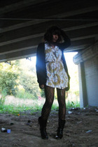 black American Apparel cardigan - white vintage dress - black Delias tights - bl