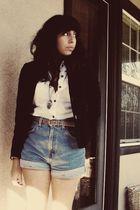 black Forever 21 blazer - white alloy blouse - blue Levis shorts - beige America