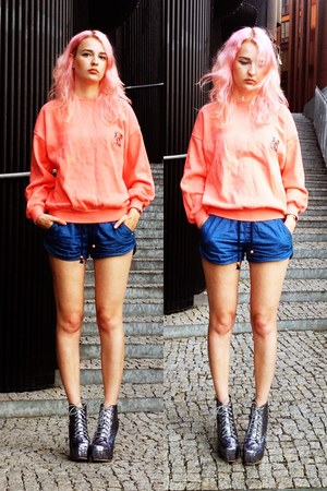 navy Bershka shorts - salmon vintage hoodie - silver Jeffrey Campbell wedges
