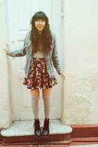 navy Nasty Gal skirt - black Dr Martens boots - light blue denim Levis jacket