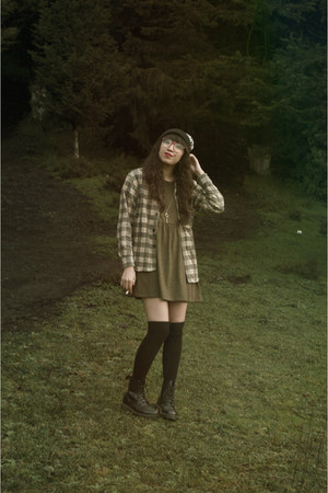 black Dr Martens boots - olive green Forever 21 dress - black Lazy Oaf hat