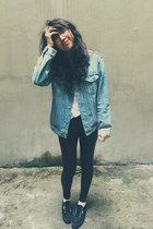 black Superga shoes - sky blue Levis jacket - black Nasty Gal leggings