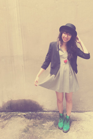 black Nasty Gal hat - chartreuse Dr Martens boots - white Guess dress