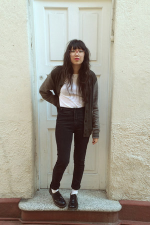 black Dr Martens shoes - black Court Shop jeans - white Gap blouse