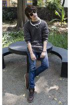 asos ring - Frank Wright boots - Zara jeans - Pull & Bear sweater