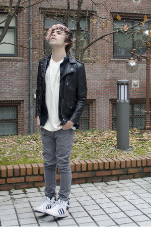 from Korea t-shirt - Zara jeans - H&M jacket - H&M shirt - Adidas sneakers