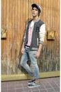 H-m-jeans-springfield-hat-asos-jacket-zara-t-shirt-vans-sneakers