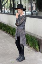 Zara shirt - asos boots - pull&bear jeans - Wonderplace Korea hat - H&M sweater