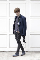 H&M blazer - Frank Wright boots - pull&bear jeans - H&M scarf