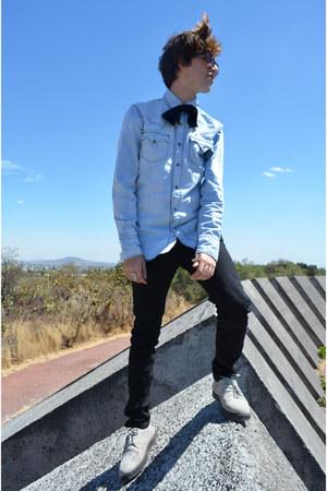 asos tie - Dr Denim jeans - Dr Denim shirt - Zara sunglasses - Kr3w sneakers