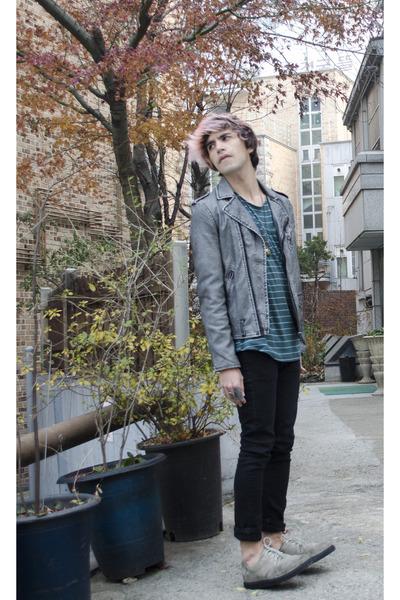 asos necklace - H&M jeans - H&M jacket - Kr3w sneakers - A Land t-shirt