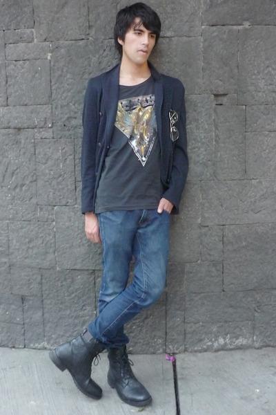 Zara blazer - asos boots - asos t-shirt