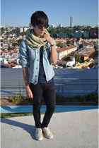 black asos jeans - light blue pull&bear jacket - beige River Island scarf