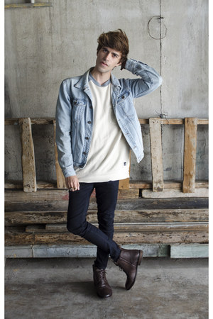 H&M jeans - Paruno boots - pull&bear jacket - pull&bear sweatshirt