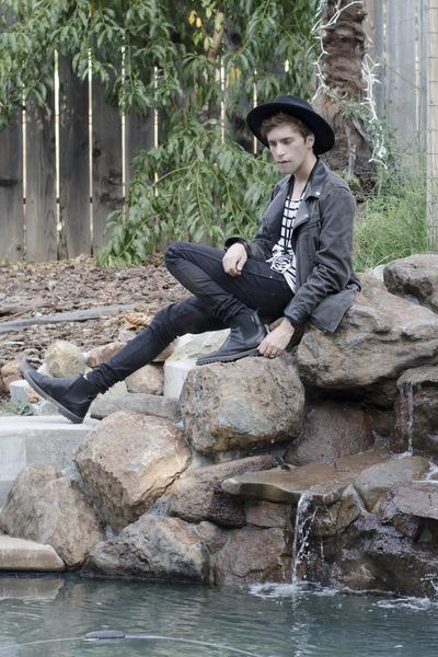 H&M hat - Dr Denim jeans - pull&bear jacket - maison martin margiela necklace