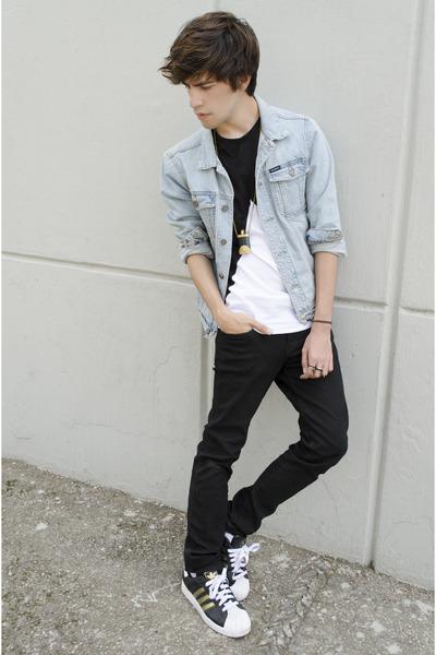 asos t-shirt - asos jeans - Pull & Bear jacket - adidas sneakers