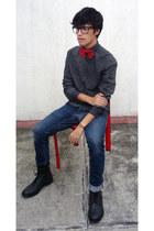 black asos boots - navy Zara jeans - black Zara sweater