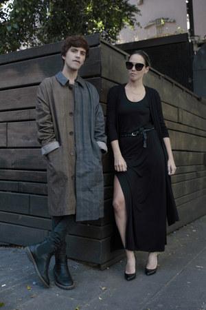 maison martin margiela coat - pull&bear boots - Dr Denim jeans - Zara t-shirt
