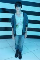 Zara jeans - asos boots - Zara t-shirt - Zara cardigan