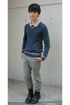 asos boots - Pull & Bear sweater - Pull & Bear shirt - Pull & Bear pants