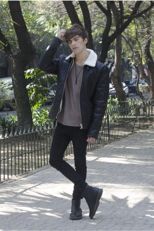 pull&bear boots - Dr Denim jeans - Zara jacket - pull&bear t-shirt