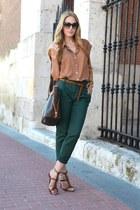 brown Zara sandals - dark brown Louis Vuitton bag - dark brown Gucci sunglasses
