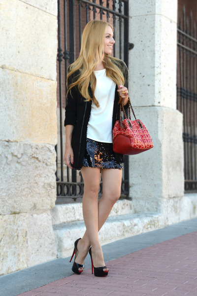 Christian Louboutin pumps - Mango jacket - Carolina Herrera bag - Zara blouse