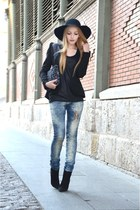 navy Mango jeans - black Queens Wardrobe blazer - black Zara bag