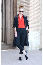 black Zara pants - black Zara shoes - black Queens Wardrobe coat