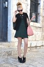 Black-mango-boots-dark-green-zara-dress-black-marc-by-marc-jacobs-sunglasses