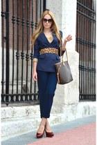 ruby red Zara pumps - navy Queens Wardrobe blazer - dark brown Louis Vuitton bag