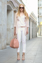 eggshell Zara jacket - light pink Carolina Herrera bag