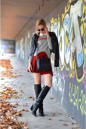 Carven sweater - Celine bag - Zara skirt