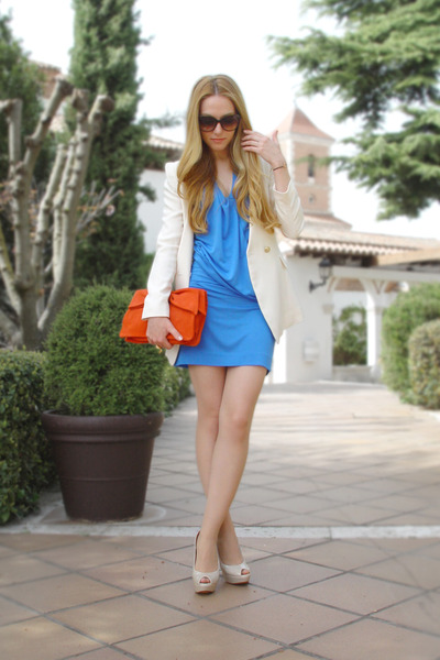 blue Mango dress - cream Queens Wardrobe blazer - carrot orange Mango bag - dark
