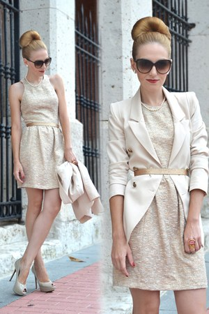 cream Zara dress - cream Queens Wardrobe blazer - dark brown Gucci sunglasses