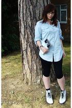blue Topshop shirt - black Topshop leggings - white Dr Martens boots