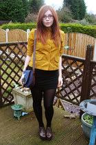 dark brown Office shoes - mustard Topshop shirt - navy Urban Outfitters bag - bl