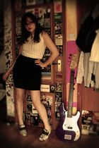 white Dear Golden Vintage top - black Urban Outfitters skirt - black handmade sh