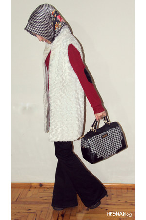 white fur Eka vest - red leather Ayhan dress - black houndstooth Bona Sera scarf