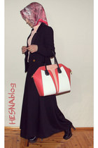 coral colorful Givenchy bag - black heels Moda boots - black suit Mango blazer