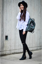 white polka-dot Monki shirt - Steve Madden boots - asos jeans - fjallraven bag